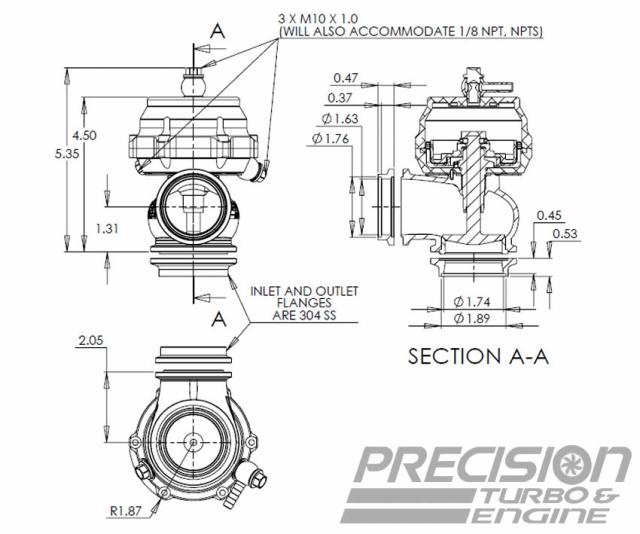 External Wastegate Dimensions - PW46 (46mm)